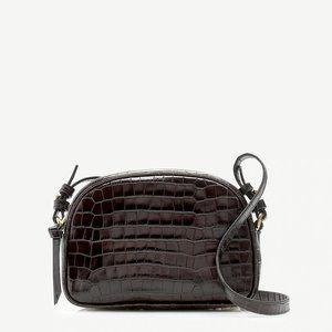 JCrew Devon camera bag brown croc-embossed leather